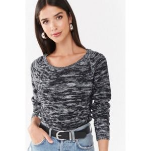FOREVER 21 Marled Longline Raglan Boucle Sweater